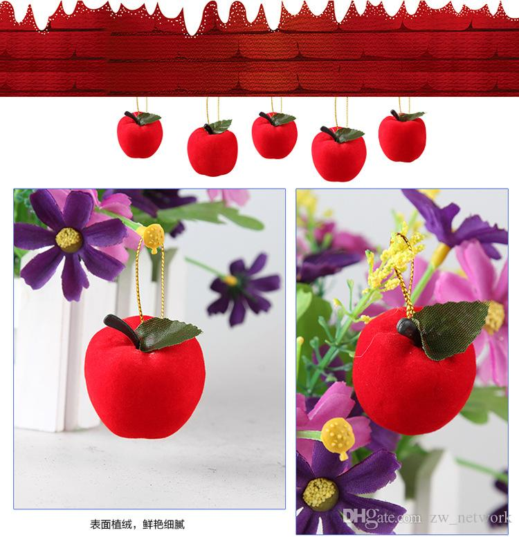 2017 chiristmas tree apple dekoration 12 teile / los künstliche kleine mini rote äpfel dekoration geschenk für weihnachtsbaumschmuck heißer verkauf