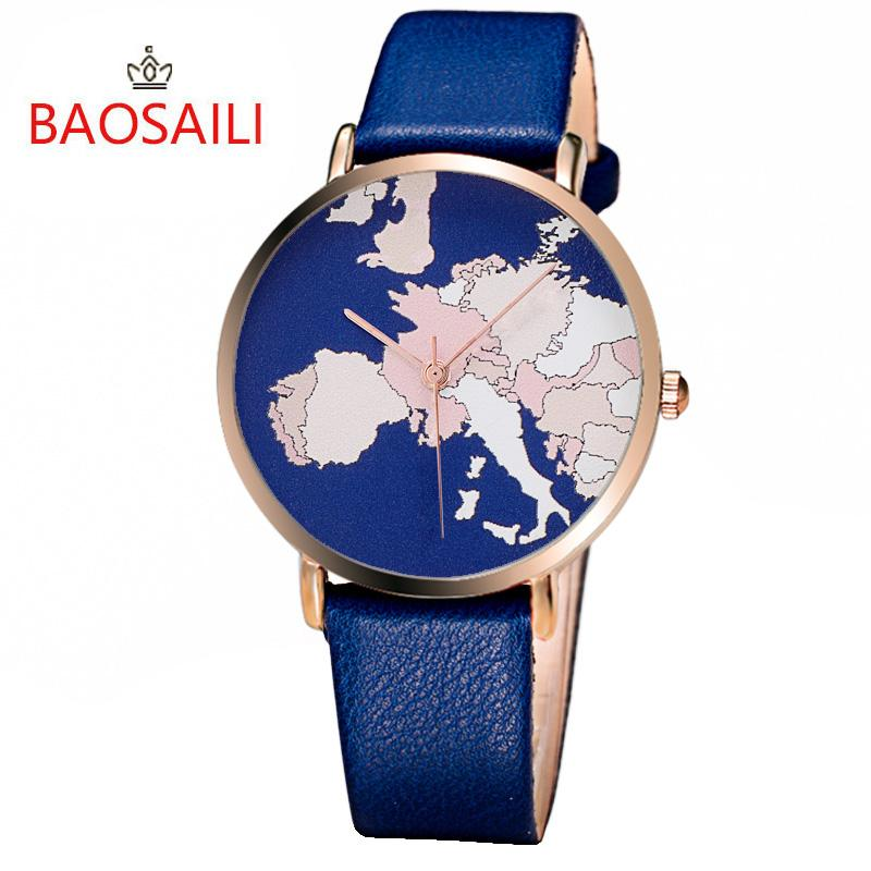 Bsl1015 baosaili classic world map design gold case imitation bsl1015 baosaili classic world map design gold case imitation leather strap japan movement quartz watches for women watches discount discount designer gumiabroncs Gallery