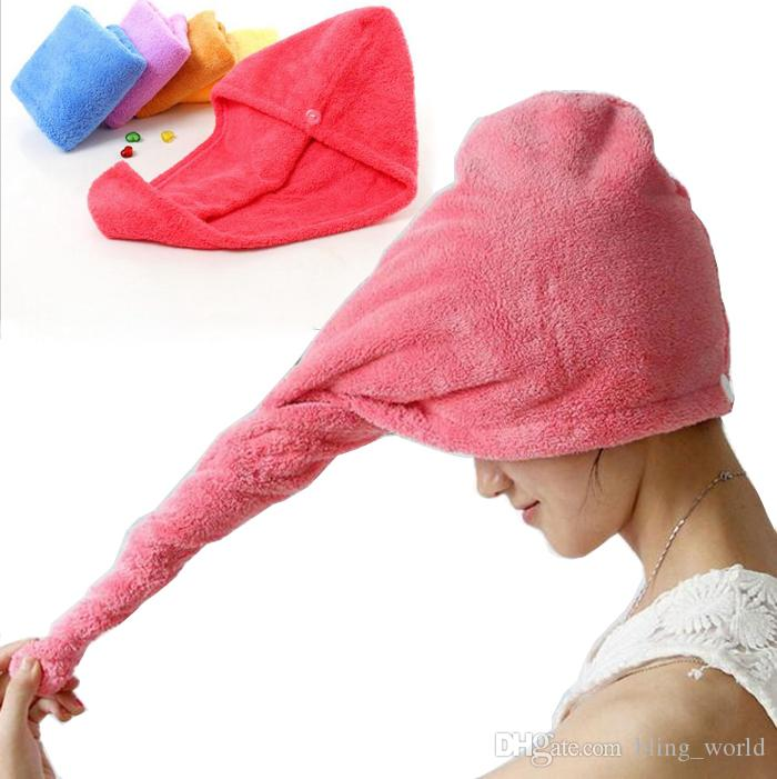 Microfiber Quick Dry Shower Hair Caps Magic Super Absorbent Dry Hair Towel Drying Turban Wrap Hat Spa Bathing Caps YW140
