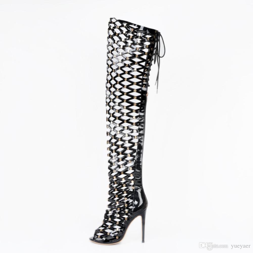 Zandina 여자 패션 손으로 만든 110mm 높은 뒤꿈치 열기 - 투 - 중공 작풍 섹시한 부츠 파티 클럽 샌들 신발 블랙 XD153