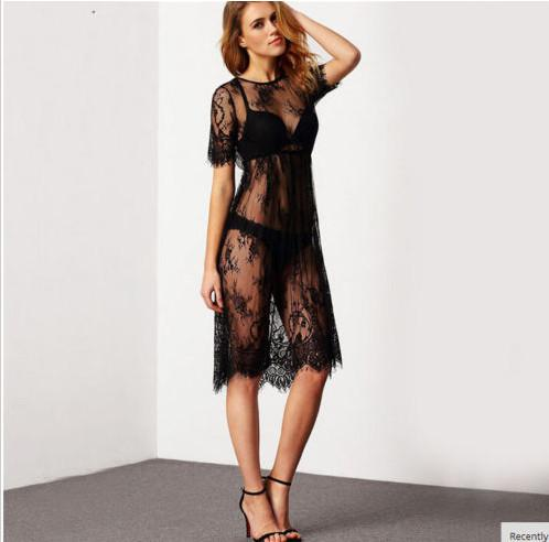 Sexy Women Embroidery Lace Sheer Evening Party Long Tops Shirt Dress Clubwear Brand New Good Quality