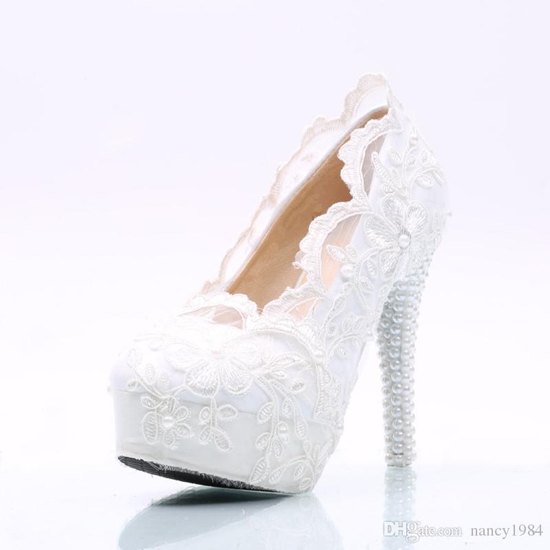 Zapatos de boda de encaje de flor blanca Plataformas de tacón alto Zapatos de vestir formales nupciales Ceremonia para adultos Bombas Zapatos de dama de honor más tamaño