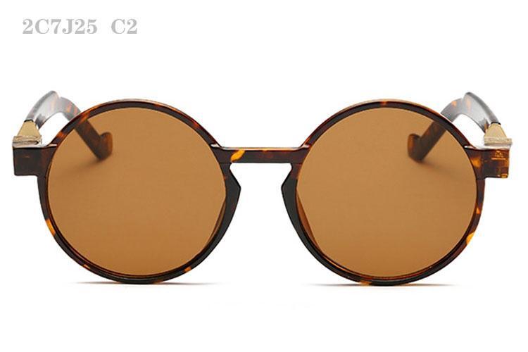 Erkek Kadınlar için Güneş Gözlüğü Lüks Erkek Sunglass Moda Sunglases Retro Güneş Gözlükleri Bayanlar Güneş Gözlüğü Yuvarlak Tasarımcı Güneş Gözlüğü 2C7J25