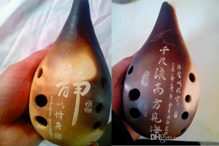 Les instruments traditionnels chinois peuvent être des modèles de texte gravés Xun dix trous calligraphie Tu Liang lettrage professionnel dix bouche vide pleine