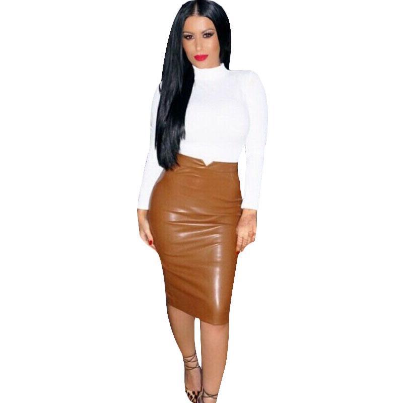 6e5fe4fac70fb Acheter Femmes Pu En Cuir Jupe Automne Streetwear Casual Bureau Travail  Porter Moulante Crayon Jupe Taille Haute Long Velvet Jupes Femmes Jupe De   15.98 Du ...