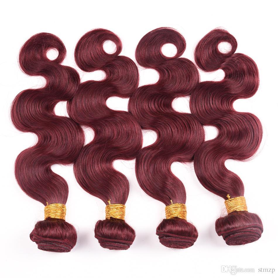 Hot Selling 99J Brazilian Virgin Human Hair Bundles Malaysian Peruvian Indian Body Wave Burgundy Red Wine Color Unprocessed Hair 100g/pc