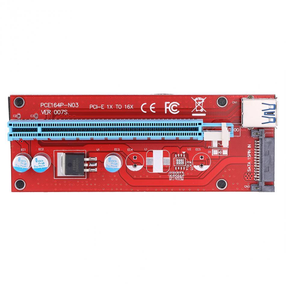 Freeshipping 60 سم PCI-E تمديد الكابلات اكسبرس 1X إلى 16X USB 3.0 بدعم موسع بطاقة الرسومات الناهض محول الأحمر