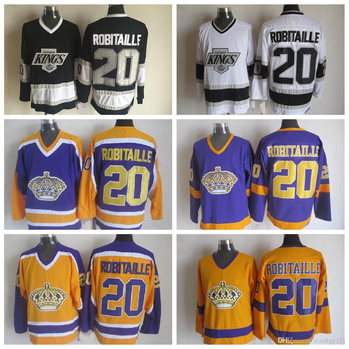 detailed look a188b 26312 canada kings 20 luc robitaille purpleyellow ccm throwback ...