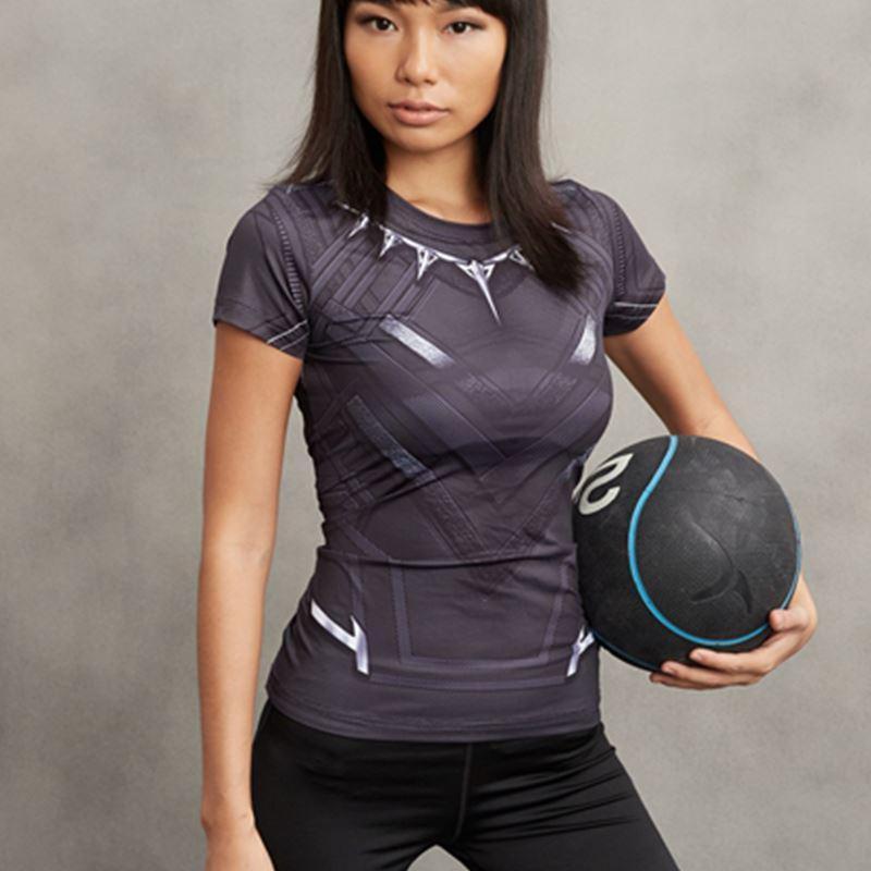 Compre Pantera Preta Camisa De Compressão 3D Impresso Camisetas Mulheres  Manga Curta Tops Feminino Capitão América Cosplay Para Senhoras De Herish 97c7b6c13e915
