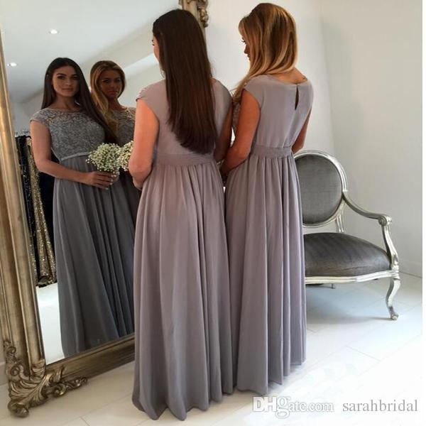 2019 Elegante Longo Cinza Vestidos Dama de Honra Jewel Neck Mangas Tampadas A linha do assoalho-comprimento Chiffon Maid of Honor Vestido Plus Size Vestido Formal