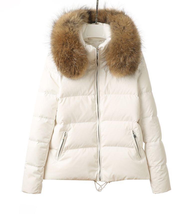 2017 new fashion Winter women's big real raccoon fur hooded short duck down parka coat casacos SMLXLXXL