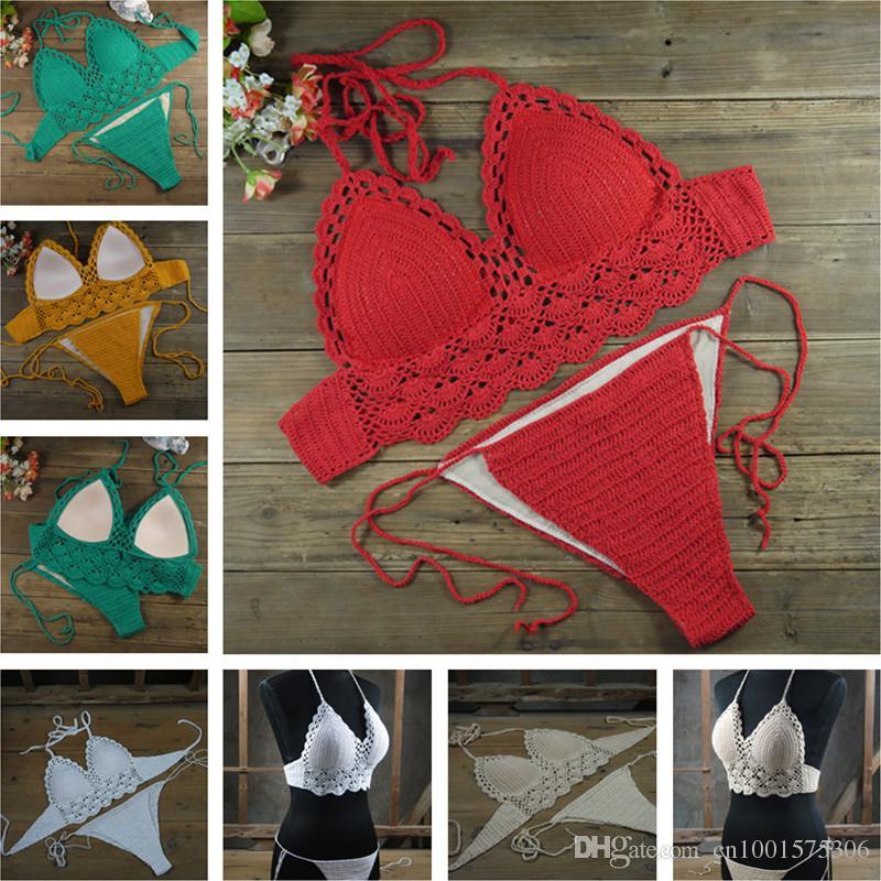 b8622bf170d8 Mujeres Sexy Crochet By Hand traje de baño Crochet Bikini Hollow Crochet  traje de baño colores personalizados envío gratis SY6515