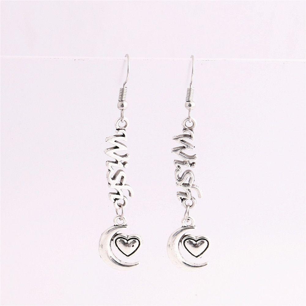 Metal Alloy Zinc Letter Wish Connector Moon Heart Pendant Charm Drop Earing Diy Jewelry Making C0756