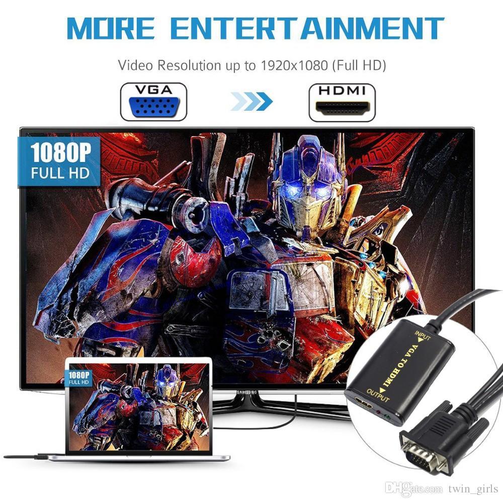 1080 P VGA HDMI Çıkışı 1080 P HD Ses TV AV HDTV PC Video Kablosu VGA2HDMI Dönüştürücü Adaptör