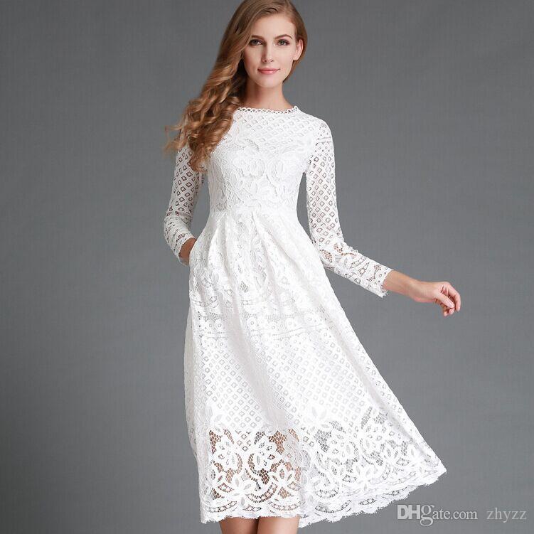 separation shoes c0b41 6c626 Alta moda elegante nero bianco pizzo abito moda donna manica lunga casual  scava fuori alta abiti da festa Wiast