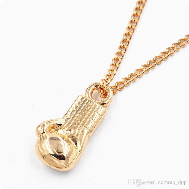 Mode Männer Boxhandschuh Anhänger Edelstahl Ketten Halsketten schwarz Silber Gold 316l Edelstahl Gliederkette Halskette männlichen Schmuck