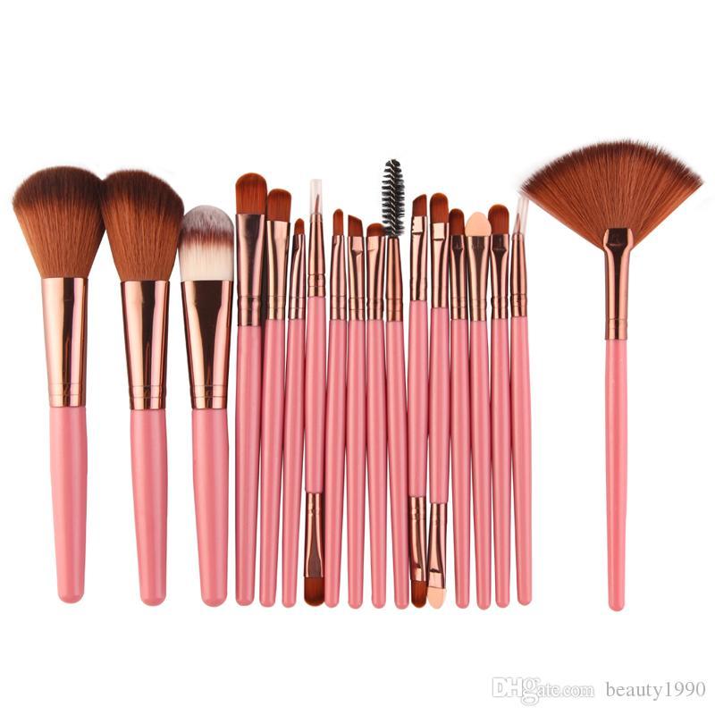 551d6af39e5b 18PCS/SET Makeup Brushes Set&Kit Professional Eyeshadow Eeybrow Eyeliner  Powder Blush Sponge Fan Brush Cosmetic Blending Make Up Tools