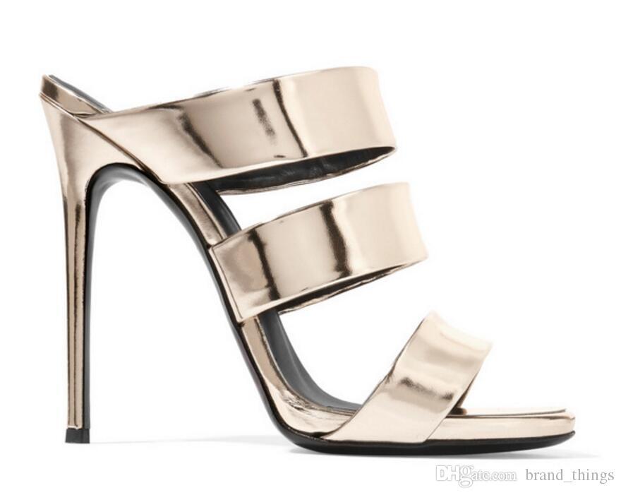 Sandali gladiatore 2017 d'oro tacchi alti moda estate scarpe da donna pompe tacco sottile scivoli sandalo scarpe da festa traforo con tacco
