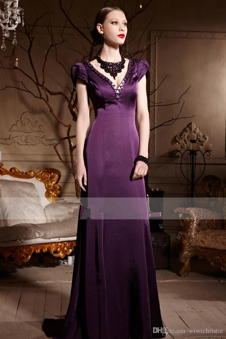 Luxury Evening Dresses Purple Deep V Neck Prom Dresses Chiffon A ...