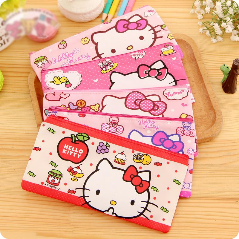 2018 Wholesale Cartoon Hello Kitty School Pencil Case For Girls Kawaii Stationery Pouch Zipper Bag Kid Office Supply Canetas From Roberte