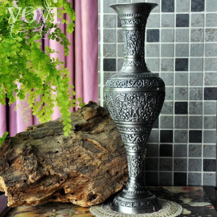 European Large Retro Engraved Metal Tabletop Vases Vase Decoration