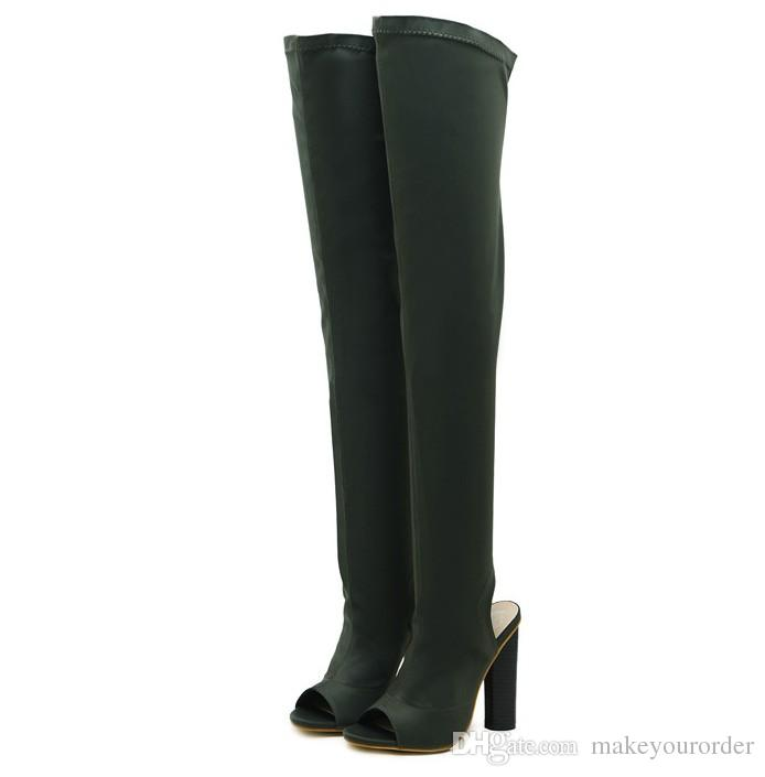 wholesaler knit new line of knee-length thigh-high boots peep toe new style overknee elastic force long boot 334