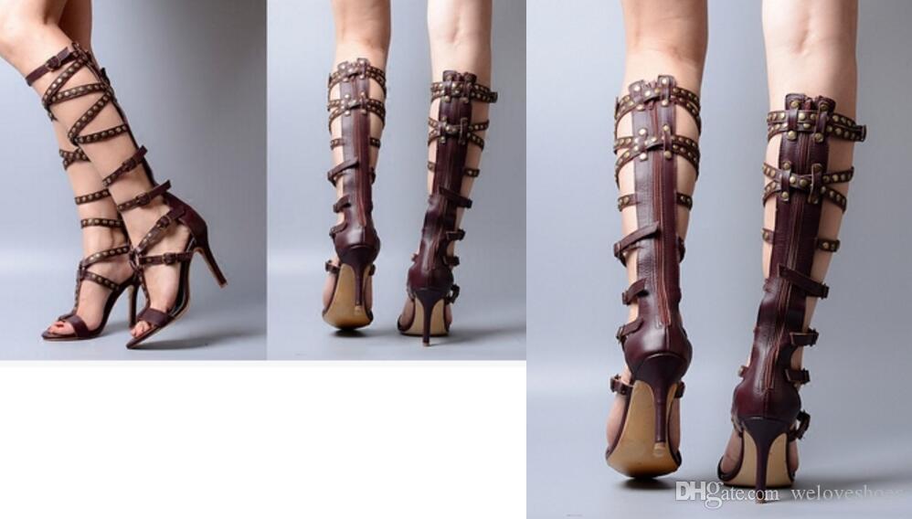 2017 été genou bottes en cuir marron en cuir sandales sandales bottes femmes lacets booties mujer botas dos ouvert chaussures de soirée talon mince