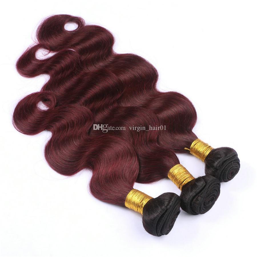 Волна тела Ombre 99j пучки волос с кружевом фронтальной два тона 1b 99j бордовый кружева фронтальной с тела волны человеческих волос ткать