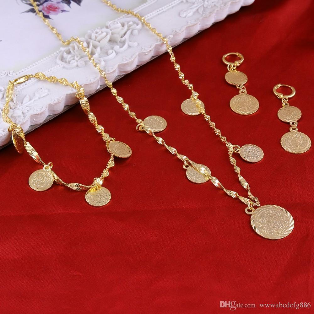 6f5e76988563 Compre Pulsera Collar Pendientes Conjunto Moneda Árabe Musulmán Islámico  Signo Dinero Mujer 22K Oro Amarillo Real GF Oriente Medio Joyería De África  A ...