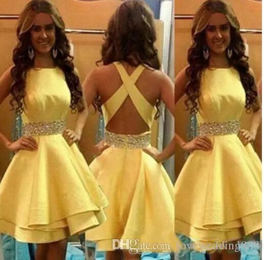 2019 Short Girls Party Dresses Yellow Satin Beading Sash Tiered Ruffle Falda barata Mini Cocktail Homecoming Vestido formal