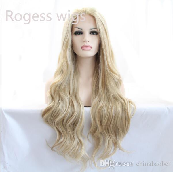Apparence naturelle vintage blonde perruque longue vague perruques synthétiques avant de lacet perruque résistant à la chaleur cheveux synthétiques