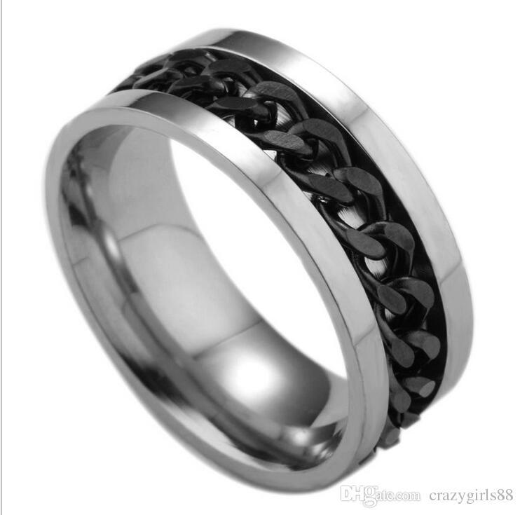 Los hombres de plata dorado negro azul tono de acero inoxidable cadena spinner moda joyería anillos de alto grado