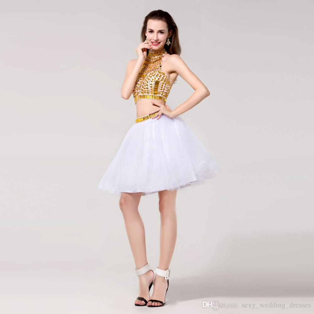 Cheap White Gold Quinceanera Dresses Online Crystal Beaded Short ...