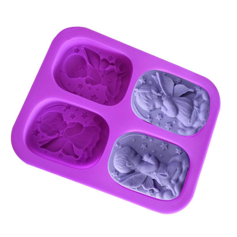 2 Pcs 4 Hole Angels Die Food-grade Silicone Soap Mold Cake Angel Couple  Handmade Maker Tool 3D Soap Molds DIY Crafts Mold