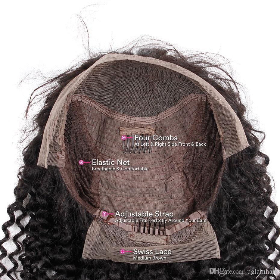 Lace Front Human Hair Wigs Kinky Curly Virgin Hair Uglam Brazilian Virgin Hair Wig With Hairline 150% Density Unprocessed