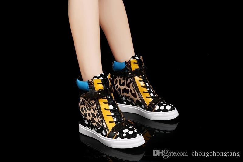 Cunha de couro real americano e europeu de alta-top sapatos casuais sapatos de lazer da mulher slipsole EU34-39 tamanho