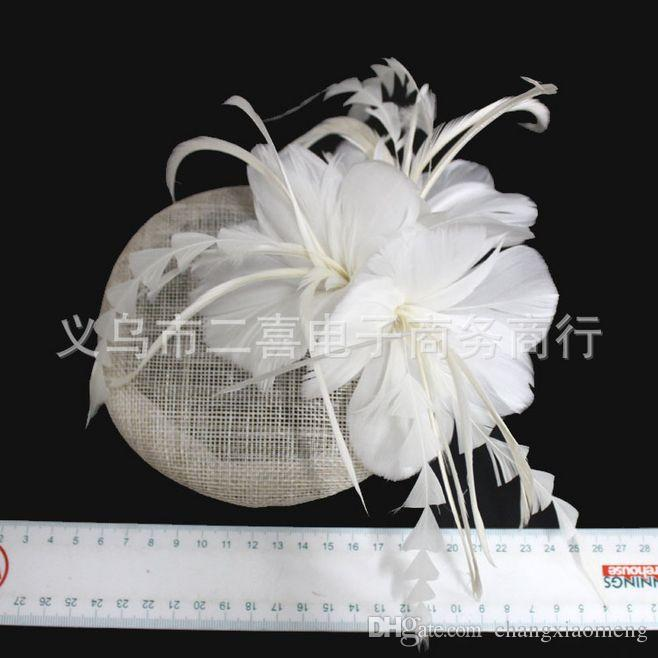 Bridal Veil Accessories Feathers Hat Clip Accessories For Christmas Party Wedding Dresses Hair Wear Elegant sisal cone flower white