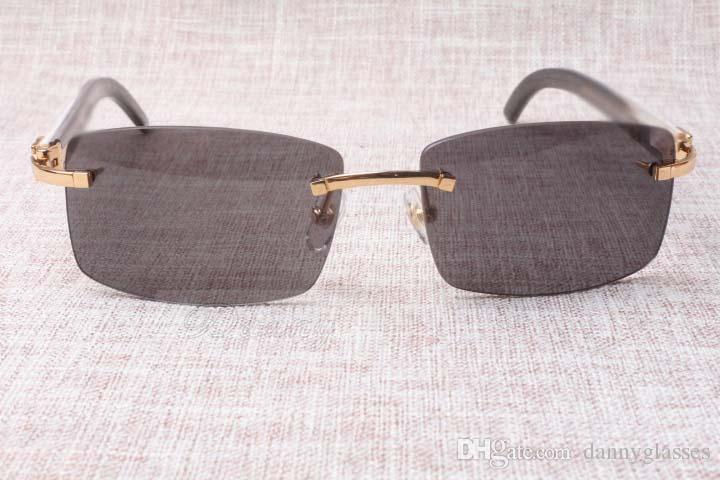 Heiße rahmenlose Sonnenbrille Gläser 3524012 Natürliche Mischung OX Horn Männer und Frauen Sonnenbrille Brille Brillen: 56-18-140mm