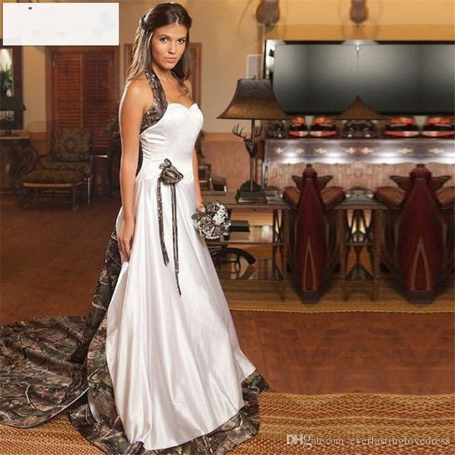 Discount Camo Wedding Dresses Mermaid Halter Cheap