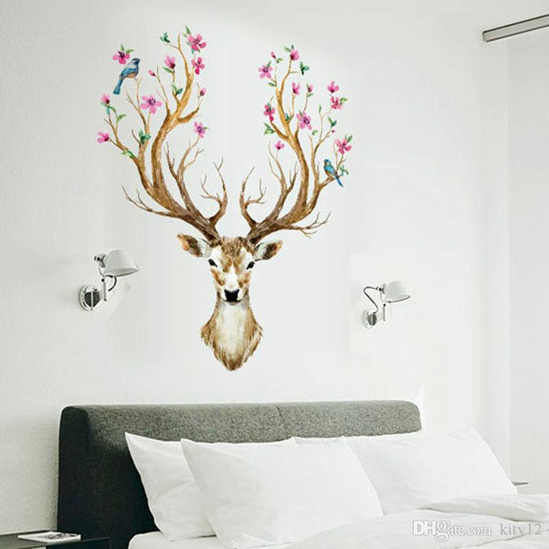 Hot Sale Colorful Sika Deer Head Antlers Wall Stickers Mural Art - Custom vinyl wall decals deer