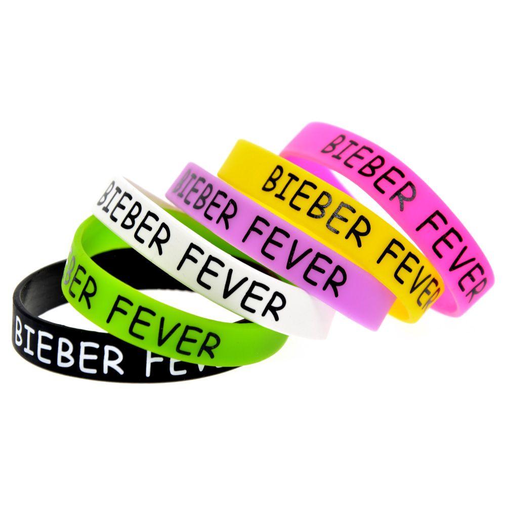 100шт Printed Bieber Fever Силиконовый браслет для меломанов отличный способ показать свою поддержку