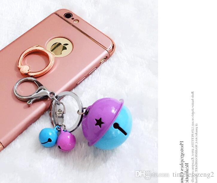 Creative alloy candy color bell keychains DIY mobile phone case accessories multi color couple bag pendant