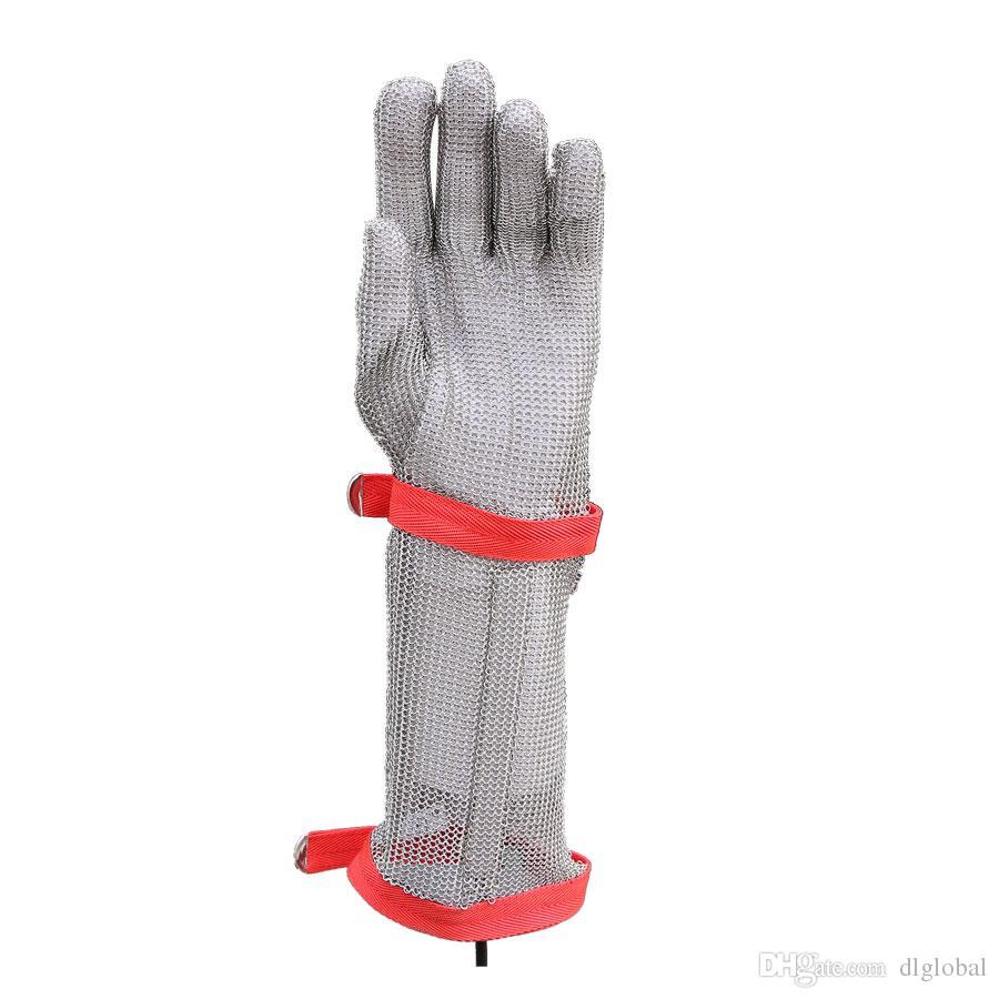 15CM Guanti resistenti al polsino in nylon a sezione lunga Guanti resistenti all'acciaio inossidabile Maglia in rete metallica Butcher Guanti anti-taglio Guanti di sicurezza sul lavoro