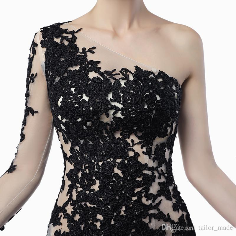 Unique Design Sheer Illusion Mermaid Evening Dresses 2019 Nude Black Sequines Applique One Long Sleeves Celebrity Prom Gowns