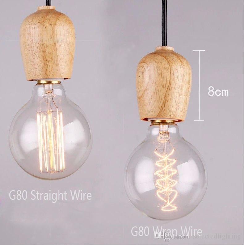 Moderne Eichenholz Pendelleuchten Vintage Cord Pendelleuchte Hängende Leuchte Schwarz Draht Edison E27 Lampe Pendelleuchte