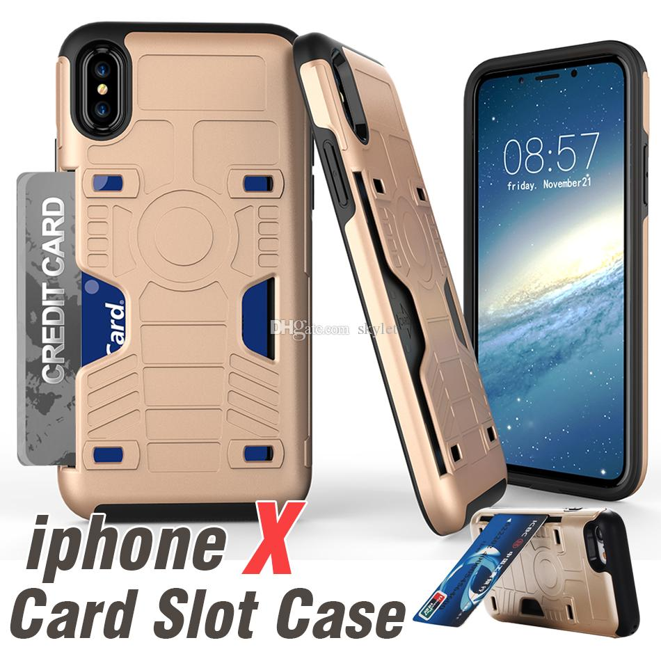 Card Slot Cases For iPhone X 8 8 plus Hybrid Armor Case For Galaxy Note8 S8 2 in 1 Kickstand Hard Shell Case With Opp Package