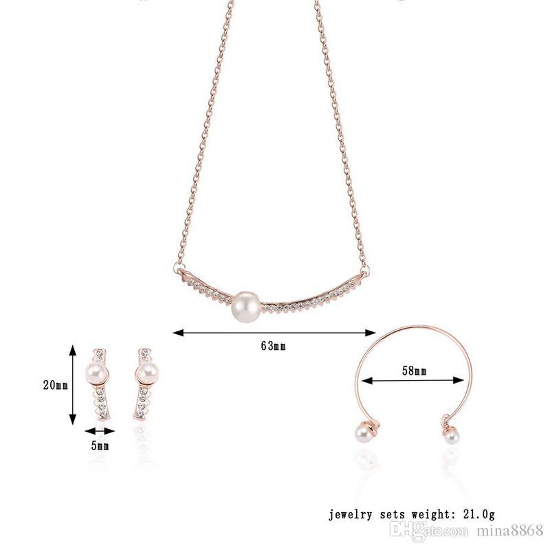 Nuovo arrivato oro placcato AAA cristallo imitazione perla collana orecchini braccialetto set semplice design gioielli da sposa all'ingrosso