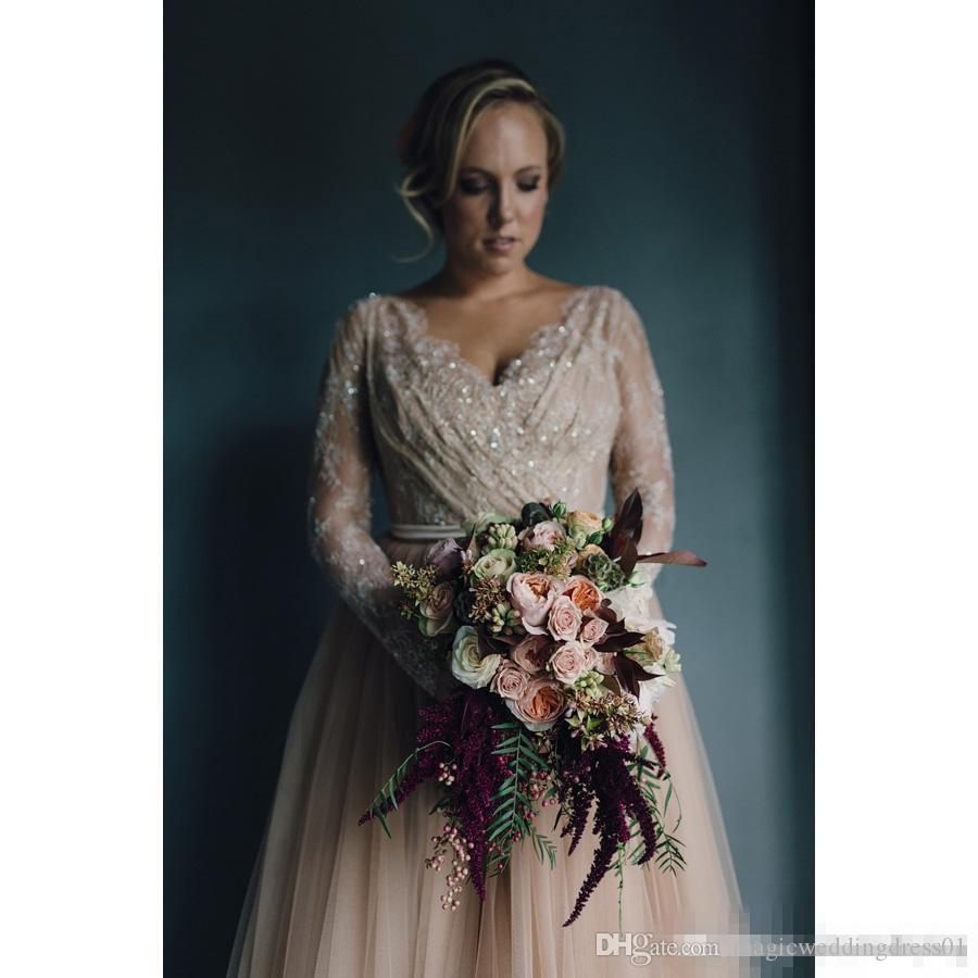 Modest Plus Size Blush Tulle Wedding Dress 2017 Deep V Neck Sheer Long Sleeves Sash Romantic Garden Country Bridal Party Gowns Custom Made