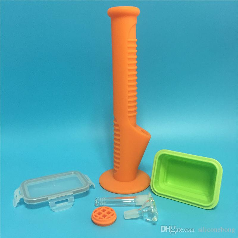 Livraison gratuite 2017 nouvelle arrivée couleur orange bang en silicone avec récipient en silicone pour fumer à sec