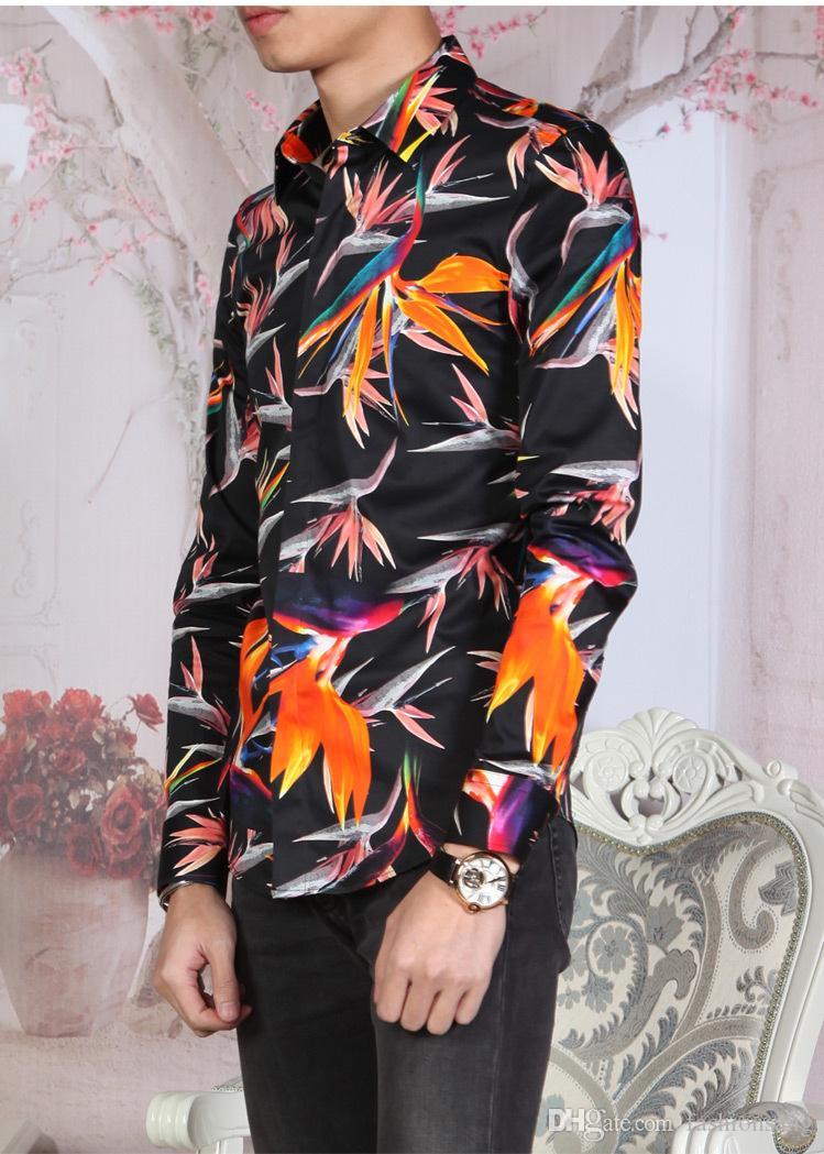 Nova moda dos homens completa manga impressão preta floral camisas do pássaro para a roupa dos homens plus size M-4XL homem Slim fit camisa de manga cheia
